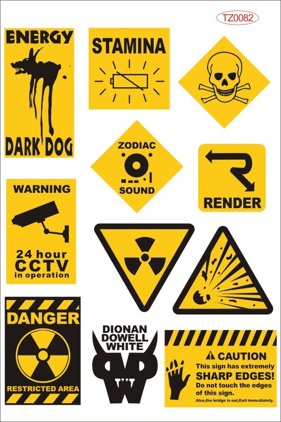 Car styling yellow and black warning sign waterproof stickers on laptop trolley luggage bicycle motorcycle car