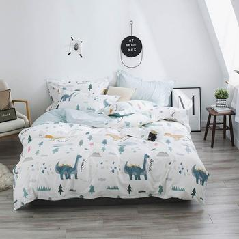 2019 Grey Dinosaurs Trees Cartoon Bed Cover Soft Cotton Bedlinens Twin Queen King Duvet Cover Set Bedspread Pillowcases