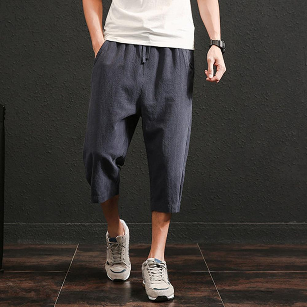 Men's Summer New Style Pure Colour Hemp Pants Fashion Calf-Length Pants Trousers Casual Male Solid Loose cargo pants Jogger