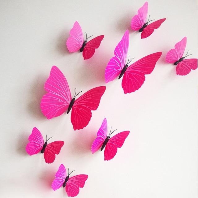 12Pcs/set DIY 3D Butterfly Wall Stickers Beautiful Art Design PVC Wall Decor  For TV