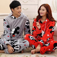 Couple's Pajamas Women Love Men Sleepwear Winter Flannel Pyjamas With hat Women Sleep Cartoon couple 's Lounge pajama Set