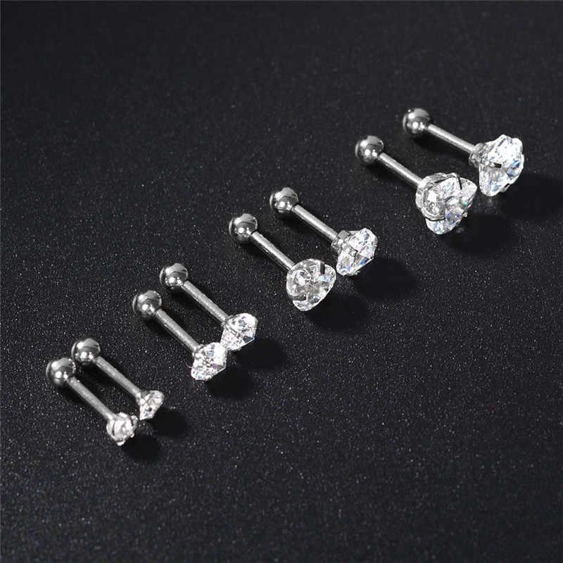 Aomu 2 peça 316l aço inoxidável coração zircão tragus brinco hélice barbell orelha piercing anel de cartilagem jóias para mulher menina