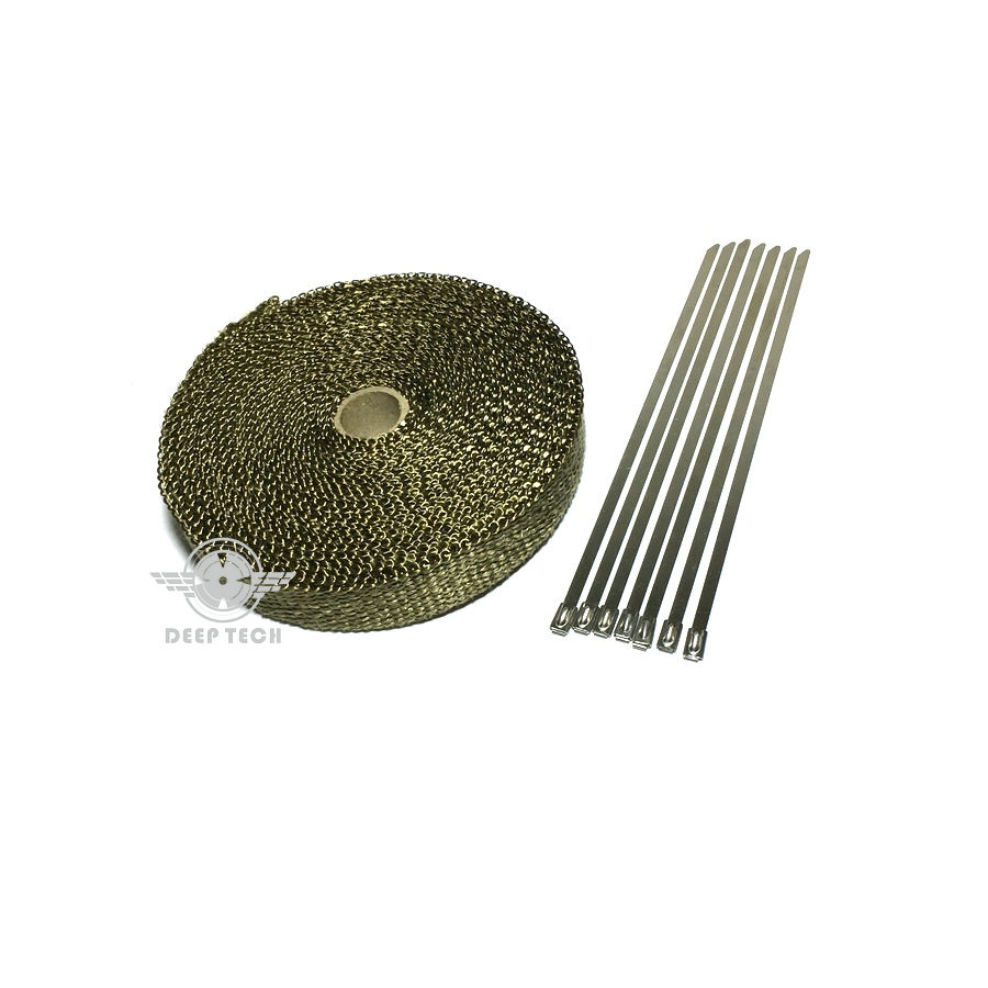 Image 3 - 15m/50ft X 1inch Titanium Thermal Exhaust Header Pipe Heat Wrap Exhaust Wrap Lava Fiber Tape With 6 Pcs Stainless Steel Ties Kit-in Exhaust & Exhaust Systems from Automobiles & Motorcycles