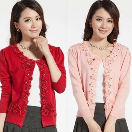 new women's cardigan sweater flowers coat Plus Size short jacket xxxl
