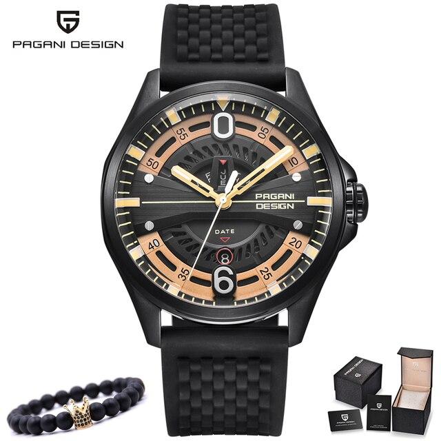c3a8d99466fc PAGANI diseño marca moda reloj para hombre negro plata reloj de oro  impermeable cuarzo Acero inoxidable
