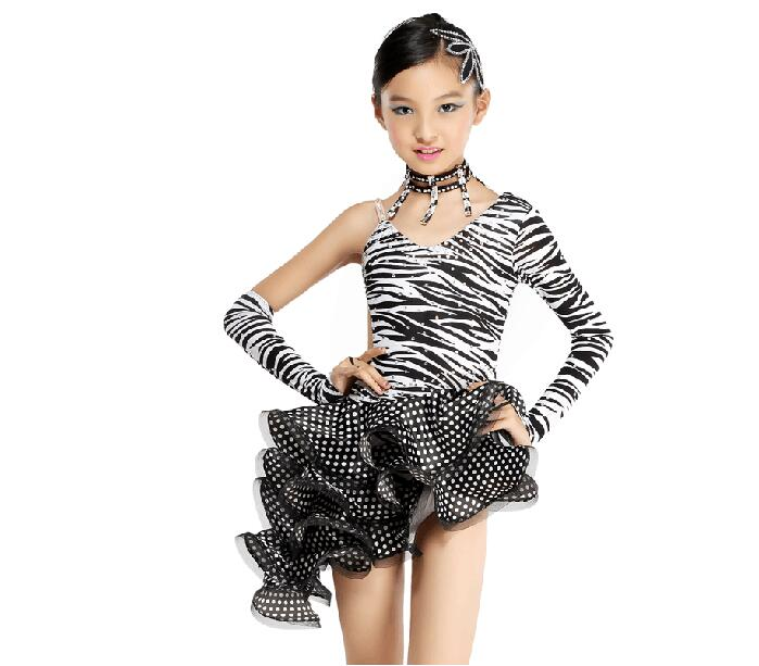 New Sexy Zebra Latin Ballroom Dance Dress Kids Girls Dancewear Unequal Salsa Skirts Latin Stage Dance Costume Clothing Children