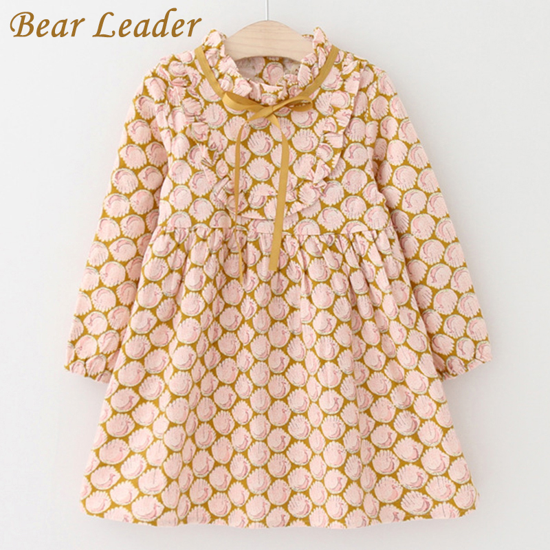 Bear Leader Girls Dress 2017 Autumn Brand Baby Girls Long Sleeve Cute Peacock Print Ribbon Bow Kids Children Clothing For 3-7Y cute baby kids girls first walkers bow knot ribbon soft floral soled crib shoes white