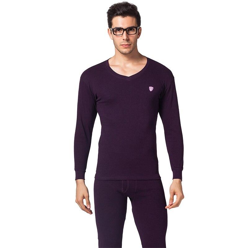 Winter Warm Thermal Underwear Men Cotton Thin Long Johns Set Autumn Soft Neck Suits