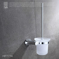 BULUXE Brass Toilet Brush Holder Frosted Glass Cup Bathroom Accessories Brosse WC Brush Set HP7714