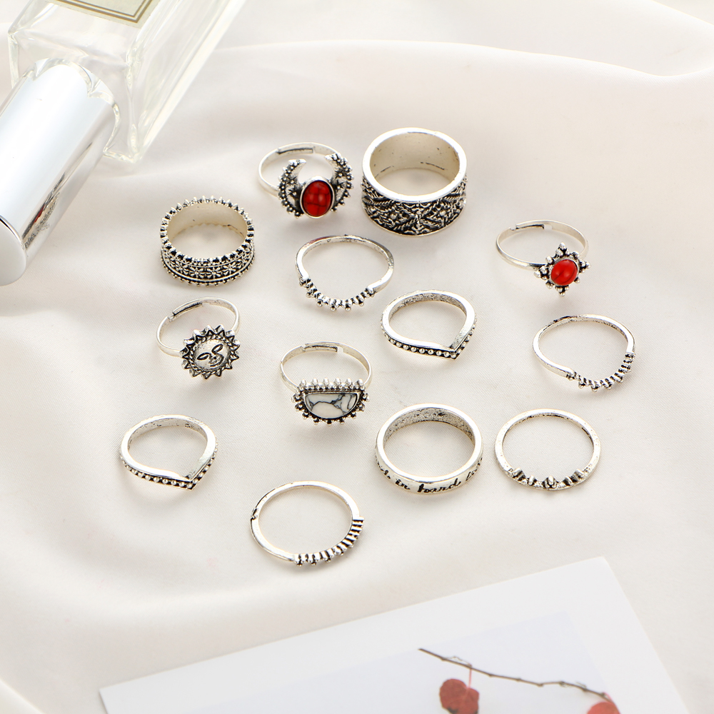 HTB15710QXXXXXcYXFXXq6xXFXXX6 Hip 14-Pieces Tribal Boho Vintage Silver Moon And Sun Knuckle Ring Set For Women