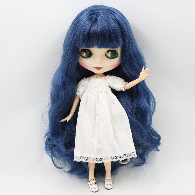 Blyth nude doll with Long Wavy Deep Blue Hair With/No Bangs 30 cm high Joint Body Matte Face DIY bjd toys No.280BL6221