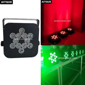 10 шт. освещение для дискотеки akku светодиодный напольный Точечный светильник DMX беспроводной плоский par led 12x18 Вт rgbwa УФ-батарея led par розовый par ...