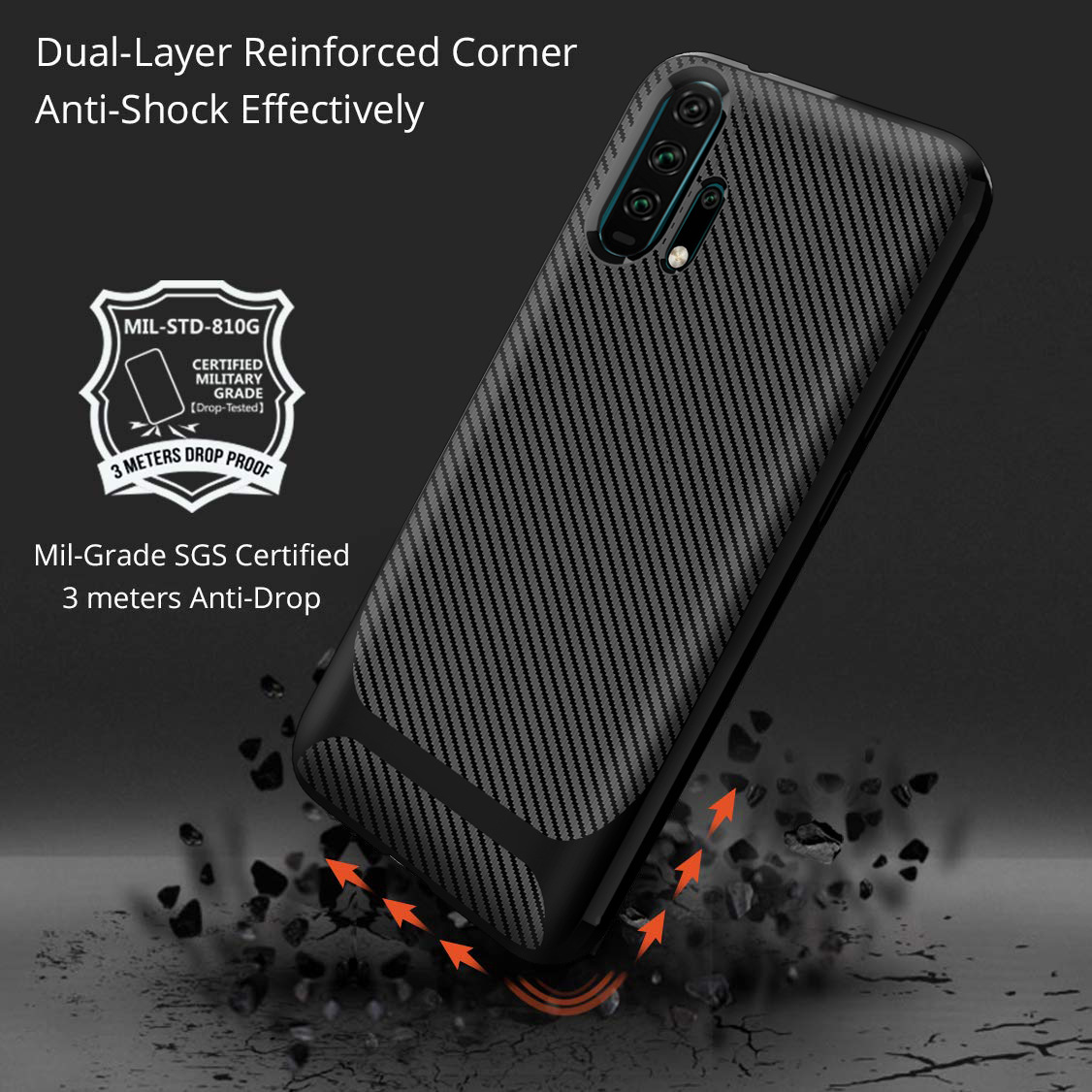 20 For Huawei Honor 20 Case Honor20 Carbon Fiber Textue Silicone TPU Soft Back Cover for Huawei Honor 20 Pro Phone Case Phone Bag (4)