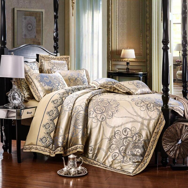 Luxe Royal ensemble de Literie Tache Jacquard Coton Dentelle Double Roi reine taille drap de Lit ensemble housse de Couette Fit feuille Taie D'oreiller 4/6 pcs