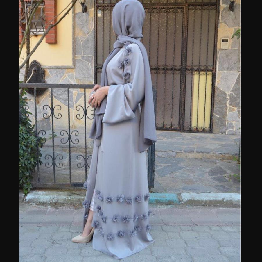 Elegant Full Length Muslim Abaya Arab Singapore Cardigan Appliques Robes Jilbab Female Dubai Muslims Dress Islamic Dress Wj1248