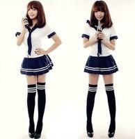 Girl S Dark Blue School Uniform Sets Short Sleeve Sailor Suit Cosplay Costumes Tops Skirt