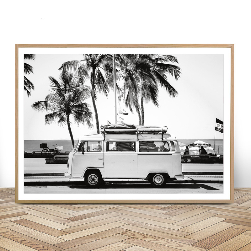 Camper Van Beach Print Surf Art Boho Decor Retro Black And White California Ocean Poster And Prints Modern Living Room Pictures