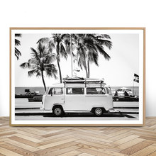 Camping-car plage impression Surf Art Boho décor rétro noir et blanc californie océan affiche et imprime moderne salon photos(China)