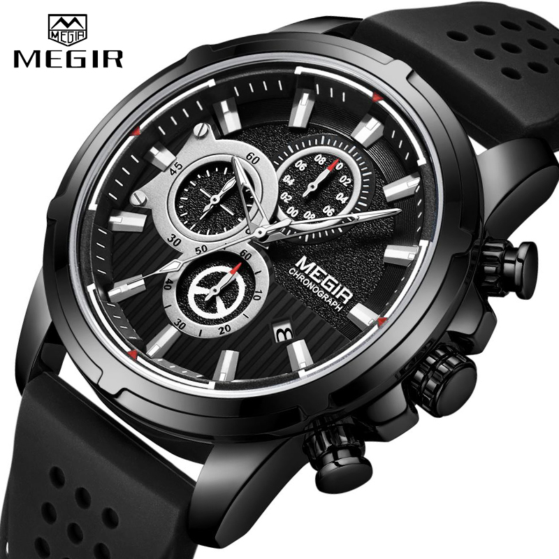 <font><b>MEGIR</b></font> Fashion Sport Men Watch Luxury Brand Waterproof Quartz Silicone Chronograph Mens Watches Military Clock Relogio Masculino image