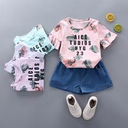 Roupa Das Meninas do verão Crianças Impressão de Algodão T-Shirt de Manga Curta + Shorts Meninas Definir a roupa do bebê roupas de menina