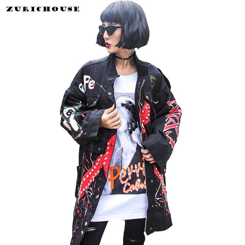 Streetwear Fashion Rivet Print Denim Jacket Women Spring Long Windbreaker 2019 New Hip Hop Series Jean Jacket Womens Denim Coat Куртка