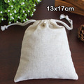 "Cotton Linen Gift Bag 13x17cm(5""x6.5"") Birthday Wedding Party Favor holders Makeup Jewelry Muslin Packaging Pouch"