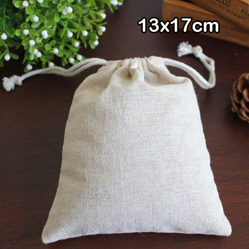 """Natural Linen Favor Bag 13x17cm(5""""x6.5"""") pack of 50 Makeup Jewelry Gift Packaging Pouch Storage Sack"""