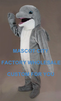Aquarium Mascot Lovely Grey Dolphin Mascot Costume Adult Size Sea Animal Performance Outfit Suit Fancy Dress SW828