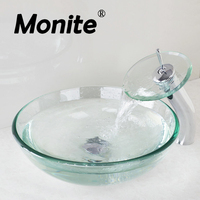 Transparent Bathroom Basin Sink Washbasin Lavatory Washroom Tempered Glass Vessel Vanity With Chrome Brass Faucet