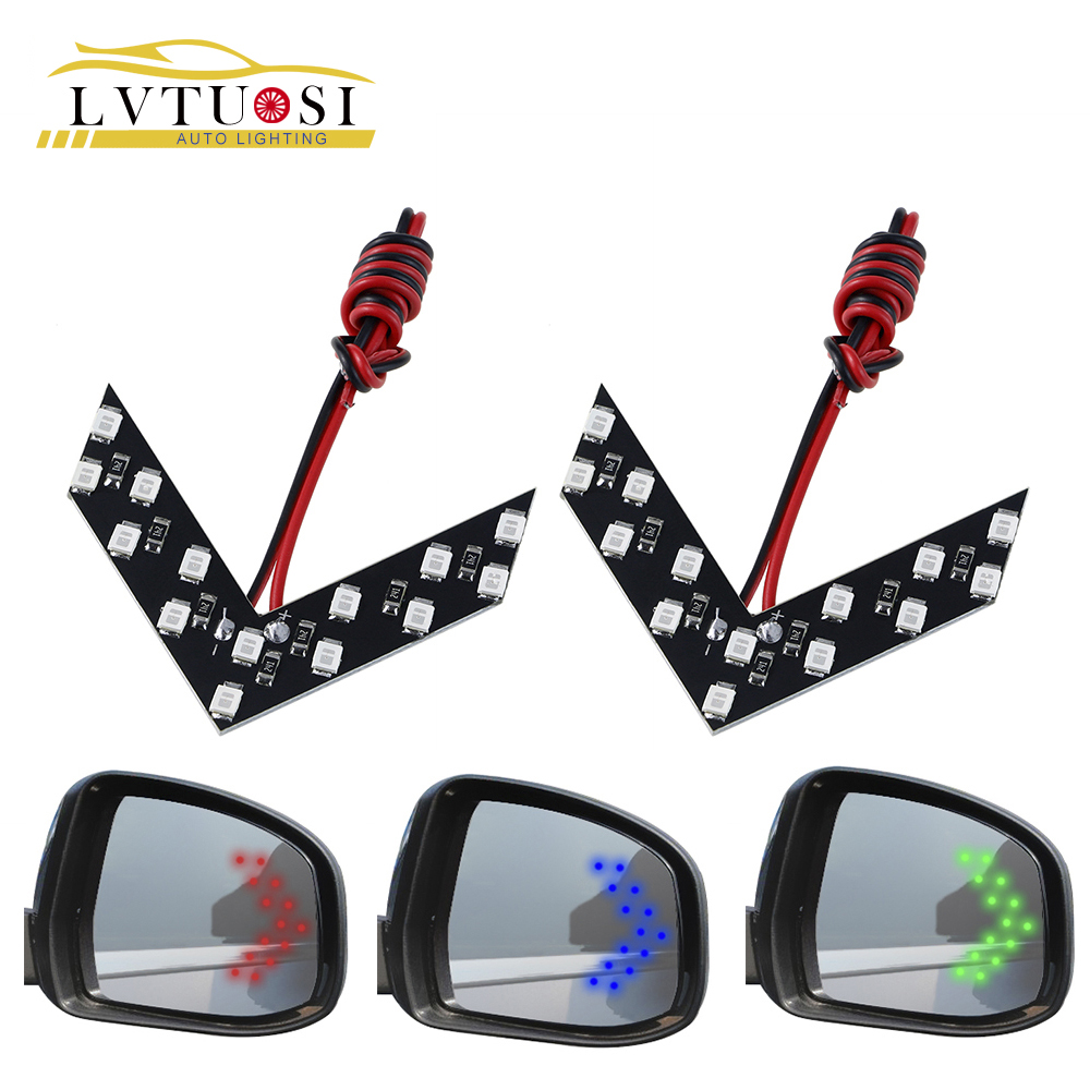 LVTUSI 2 pcs Panah Panel 14 SMD LED Mobil Side Mirror Lampu Indikator Auto Turn Signal Cahaya Styling Mobil LED Spion AE