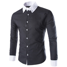 2016 New Mens Dress Shirts Solid Black Light Blue Fashion Men's Cuff Stitching Turn-down Collar Long Sleeve Casual Men ShirtCS16