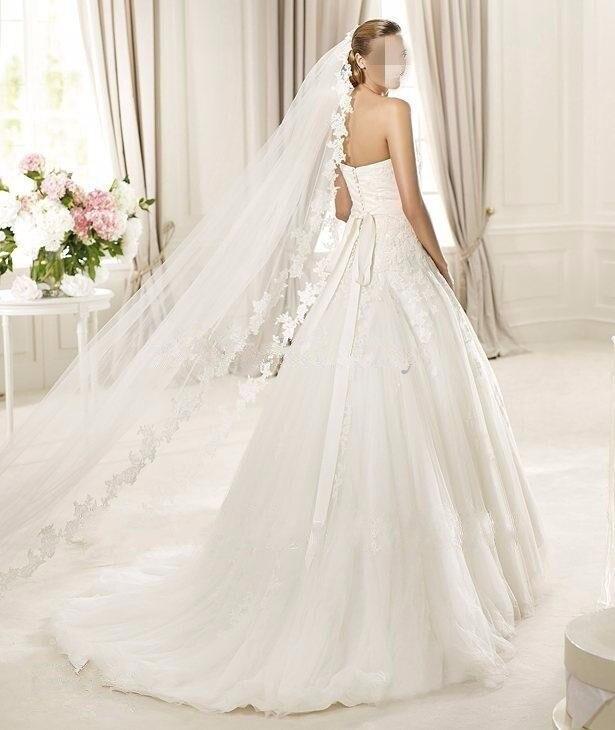 2016 Real Photos White/Ivory Wedding Veil 3m Long Comb