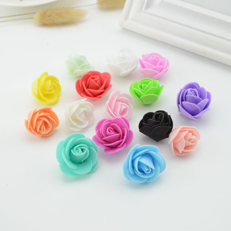 10Pcs Mini PE Foam Roses Artificial Flowers cheap For Wedding Car Decoration DIY scrapbooking Wreath valentine's day Fake flower