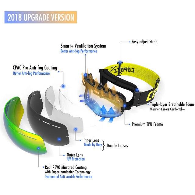 COPOZZ marca UV400 anti-fog óculos de esqui camadas duplas grande ... e70f1f1ca0