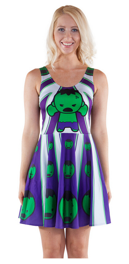 Free size 1159 Fashion Women's 3D printing cartoon Cute hulk prints elastic summer sexy Girl skater one-piece pleated dress