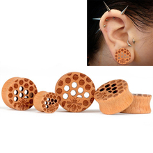 10mm-25mm Wood Cellular Mesh Ear Tunnels Piercing Jewelry Women Stretchers Plugs Flesh Gauges Expanders 1 Pair