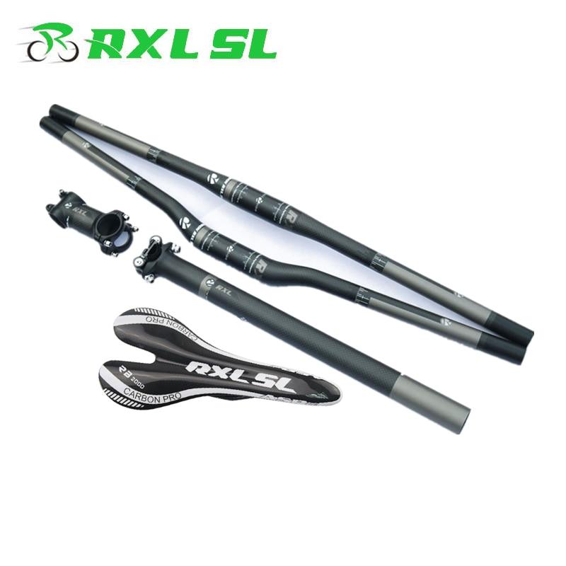 цена на RXL SL Mountain Bike Carbon MTB Handlebar 3K Matte/Gloss Seatpost+Stem+Saddle+Flat/Riser Handlebar Carbon Set Bicycle Handlebars