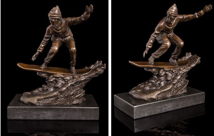 Art Deco Sculpture Skate Boy Bronze Statue