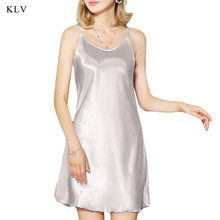 купить KLV Women's Silk Satin Chemise Nightdress Sexy Lotus Hem Sling Dress Chemise Mini Nightgown Colid Color Casual Nightdress дешево