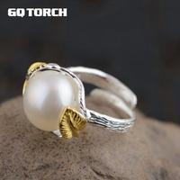 GQTORCH Vintage Large Pearl Rings For Women Simple Leaves Design Silver 925 Jewery 18k Gold Plated