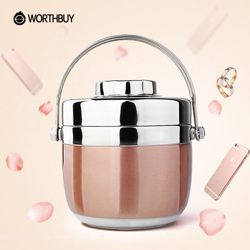 WORTHBUY Japanese Thermal Lunch Box For Kids Picnic Camping Portable Stainless Steel Bento Box Fruits Food Container Storage