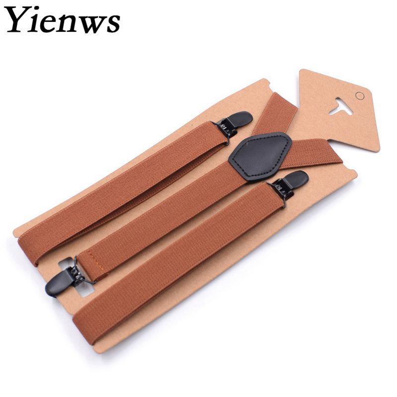 Yienws Suspensorio Y Back Suspenders For Men Vintage Brown 3 Clip-on Pants Suspenders Mens Braces For Trousers 2.5*110cm YiA086