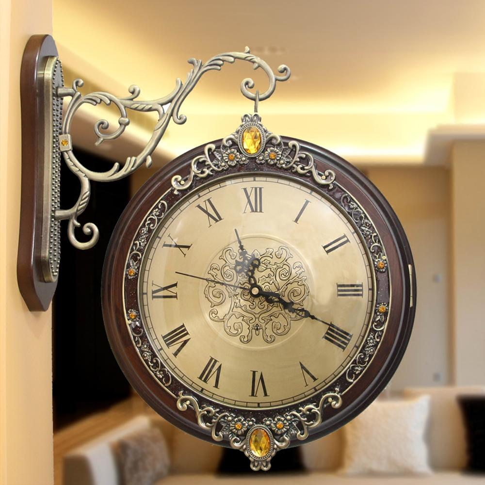 watches Decoration Art quartz European style wooden double metal ...