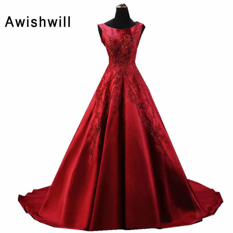 f65b6c10674 Индивидуальный заказ без рукавов элегантные красные Вечерние платья Длинные  Аппликация из бисера Этаж Длина вечерние платья