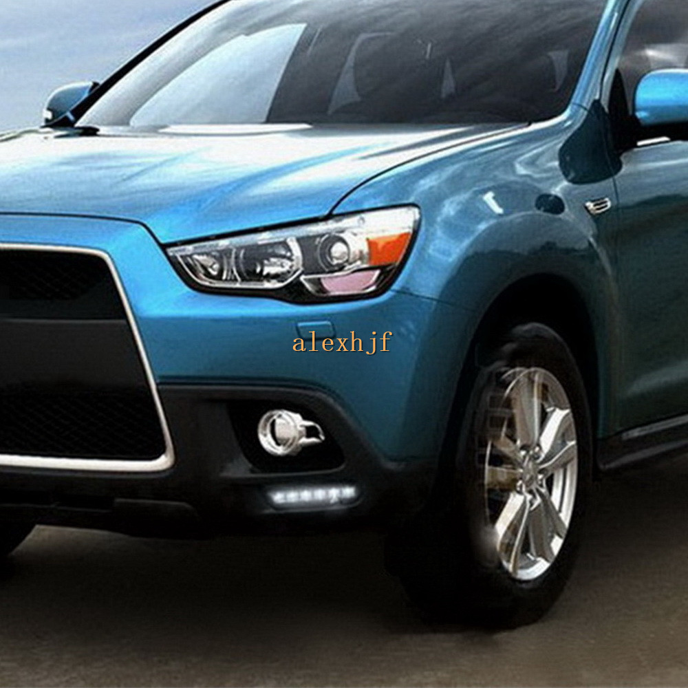July King LED Front Bumper Fog Lamp Case for Mitsubishi ASX Outlander Sport 2011~2013, 6LEDs/pc DRL Daytime Running Lights for opel astra h gtc 2005 15 h11 wiring harness sockets wire connector switch 2 fog lights drl front bumper 5d lens led lamp