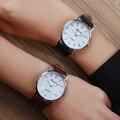 Luobos venta caliente hombres de cuero reloj de cuarzo ocasional de la manera de las mujeres reloj de pulsera números arábigos estilo analógico relojes relojes reloj 2017