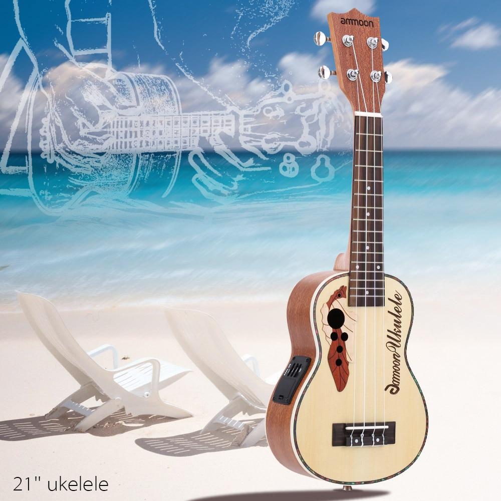 ammoon High Quality Spruce Ukelele 21 Acoustic Ukulele 15 Fret 4 Strings Stringed Musical Instrument with