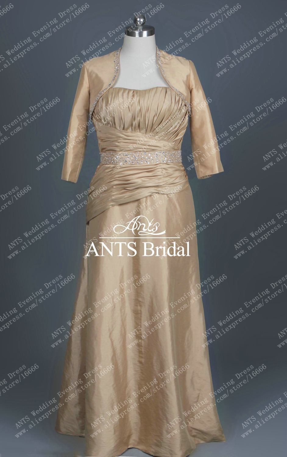 RE994 With jacket long Taffeta Ladies Evening Gown Champagne-in ...