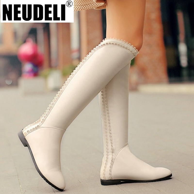 Plus Size 10 11 12 Genuine Leather Winter Womens Boots ...