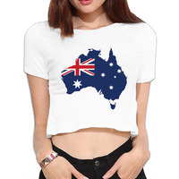 Australia Pride Bare Midriff Hip Hop Crop Tops Harajuku T Shirt